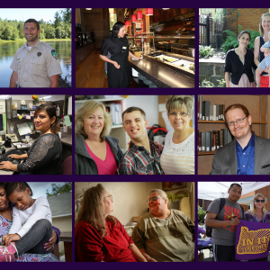 A ollage of 9 images in a grid, each showing SEIU members in different contexts, including work in food service, work outdoors, with family, with clients, and with fellow members.