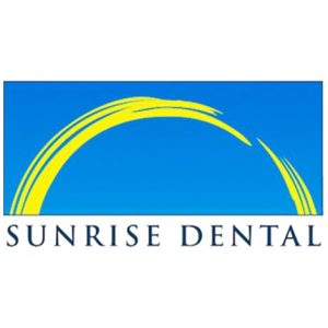 Sunrise Dental logo, with yellow paint-stroke arch on a blue background.