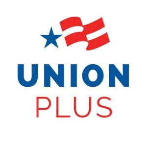 Union Plus Logo, with blue star and waving red and white stripes.