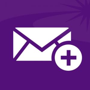 """Un icono blanco que representa un sobre y un signo """"más"""" (+), sobre un fondo violeta."""