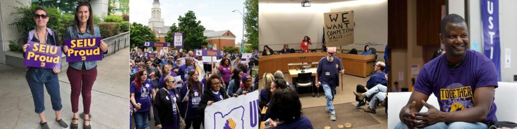 Члены SEIU в фиолетовых футболках с пикетами