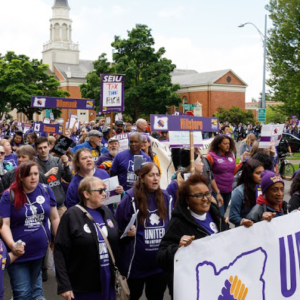 SEIU members at a rally at the Salem capitol