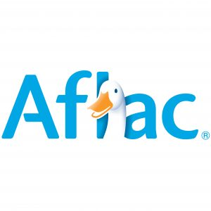 The AFLAC corporate logo, which includes a white duck with yellow bill.