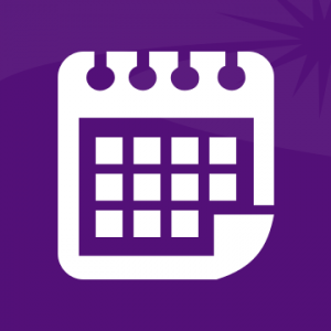 A generic white calendar icon on a purple background.