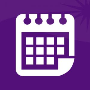 Un icono de calendario blanco genérico sobre un fondo morado.