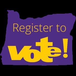 """Una silueta púrpura del estado de Oregon, con un texto amarillo sobre ella que dice """"¡Regístrese para votar!"""""""