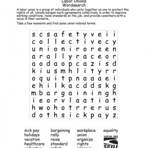 """Un documento en blanco y negro que contiene un rompecabezas de búsqueda de palabras que incluye palabras relacionadas con el sindicato como """"colectivo"""" y """"organizar""""."""