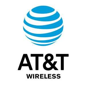 Logotipo de AT&T con esfera de rayas azul y blanca.