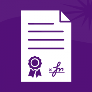 A white document icon, with a stylized seal and signature, on a purple background.