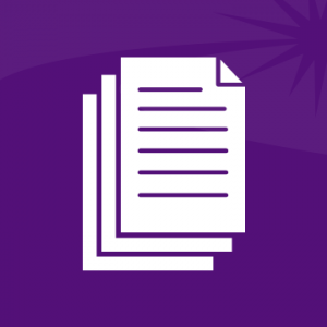 A white stack-of-documents icon on a purple background.