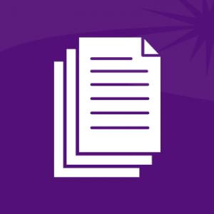 Белый значок стопки документов на фиолетовом фоне.