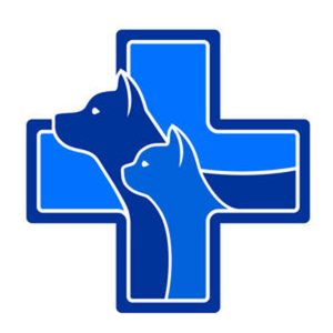 A blue cross shape with a dog and cat silhouette arising out of the cross.