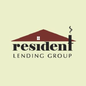Logotipo del grupo Resident Lending con una línea del techo y una chimenea humeante