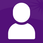 A generic head-and-shoulders white icon on a purple background.