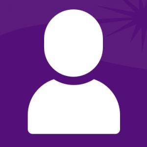 Обычный голой и плечи белый значок на фиолетовом фоне.