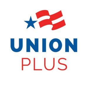 Logotipo de Union Plus, con estrella azul y rayas rojas y blancas.