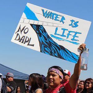 """Un joven nativo se encuentra en un grupo de muchos con carteles. Su letrero dice """"El agua está viva: no DAPL"""""""
