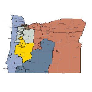 Un mapa de Oregon dividido en 30 distritos que comprenden 6 regiones.