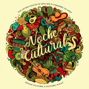 """Un gráfico colorido que representa elementos de la cultura latina, con un texto en el centro que dice """"Noche Cultural""""."""