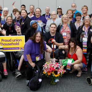 A large group of SEIU homecare workers and people with disabilities