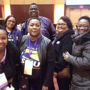 Un grupo de miembros afroamericanos de SEIU del Caucus AFRAM
