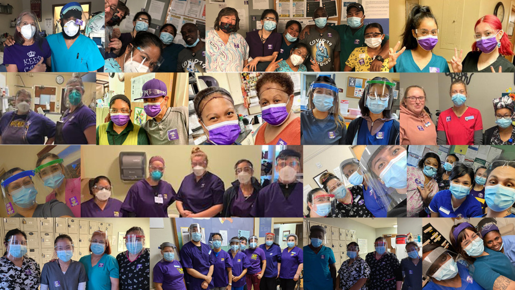 Collage of nursing home workers wearing purple masks, scrubs, and stickers that say 'Overworked, Essential, and Underpaid'